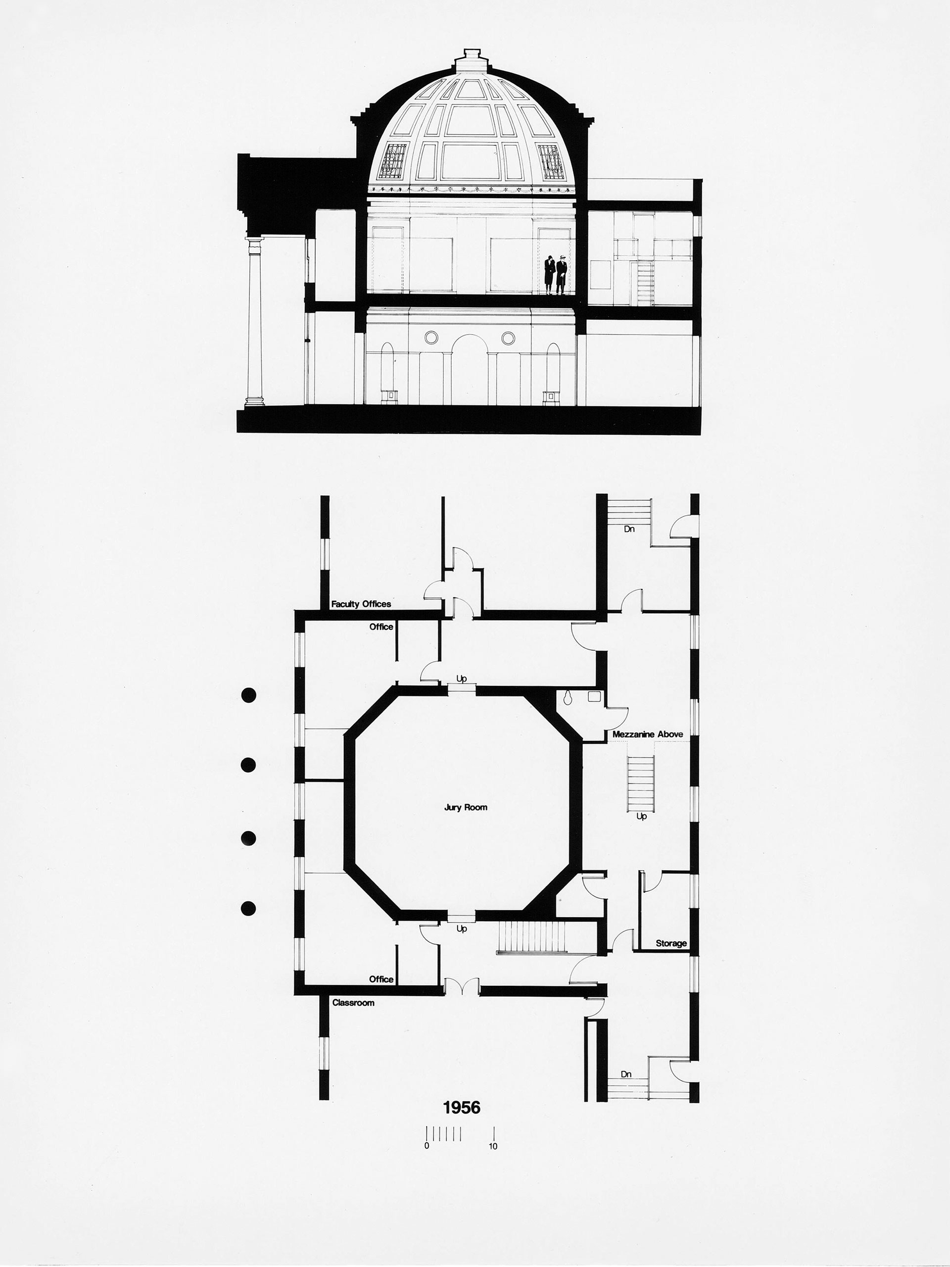 An architectural plan of Brooks Hall as it existed before the 1989 renovation.