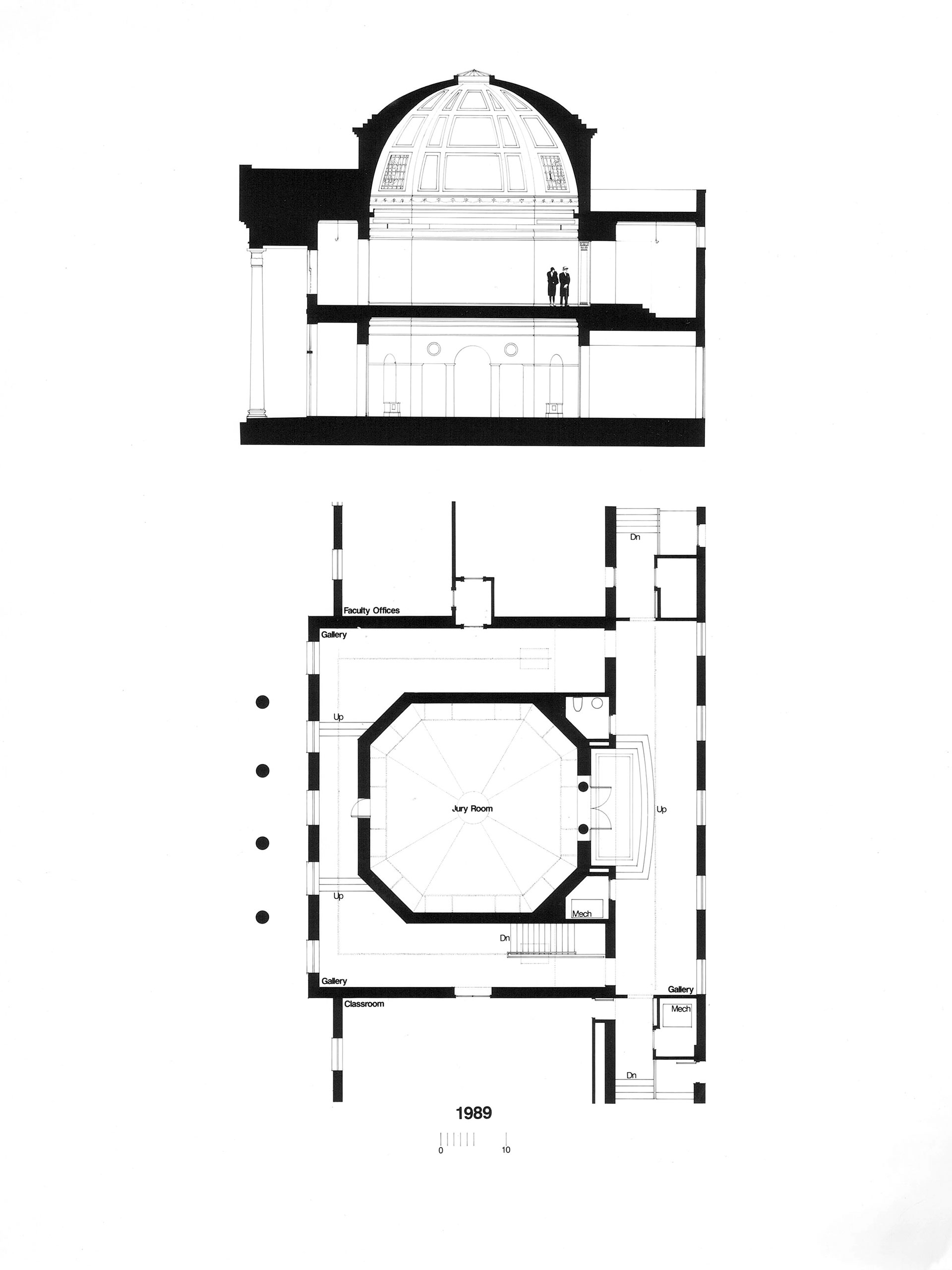An architectural plan of the 1989 renovation of Brooks Hall showing the removal of office space to make room for more jury areas, the reorientation of the entrances, and the removal of the ceiling that previously obstructed the dome.