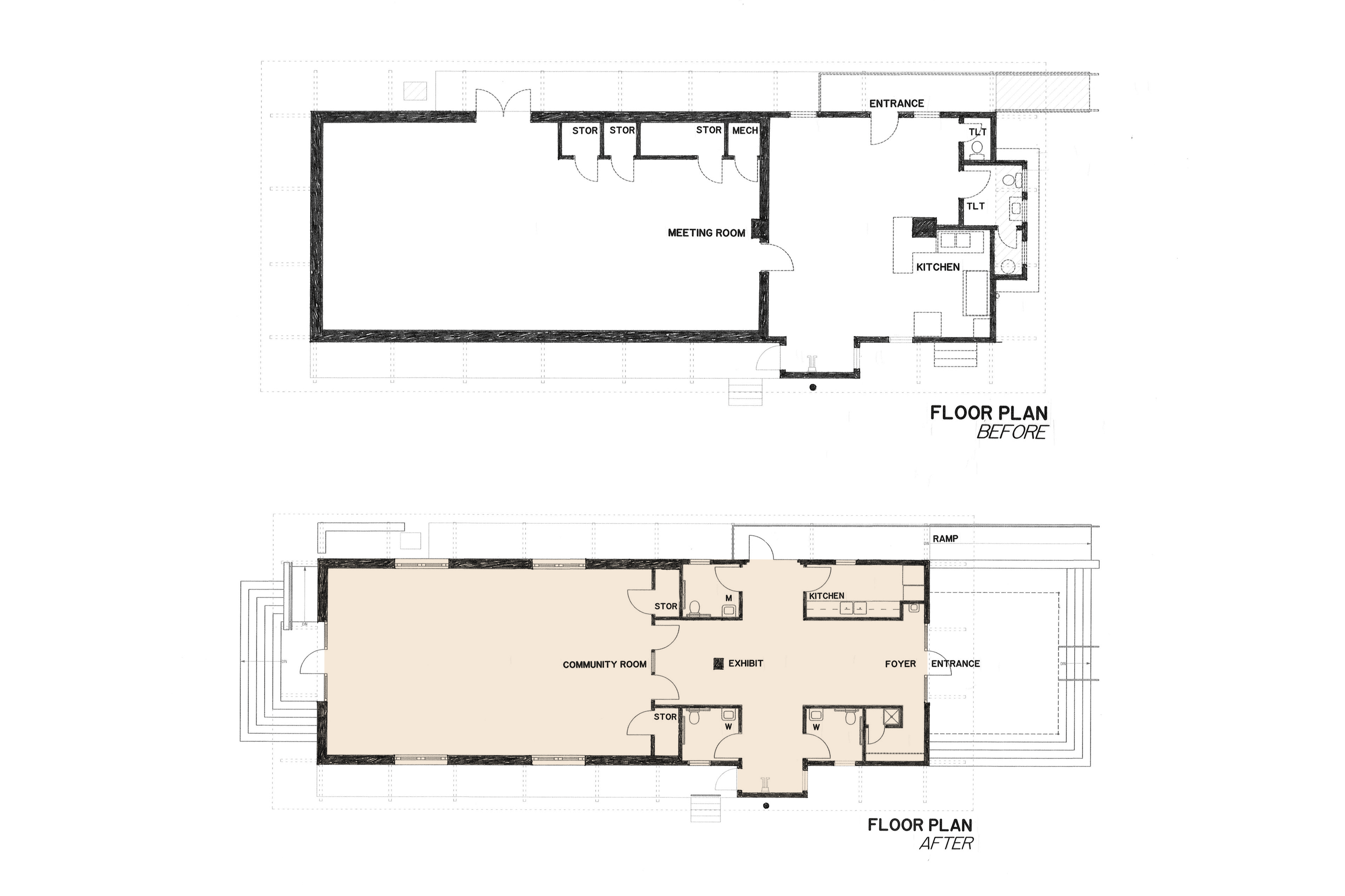 Before and after floor plans.