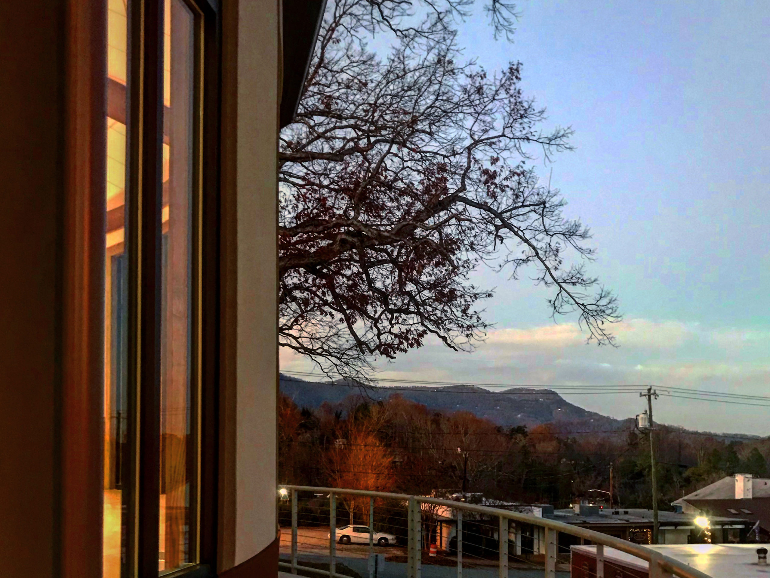 View from the curved addition westward toward the mountains.