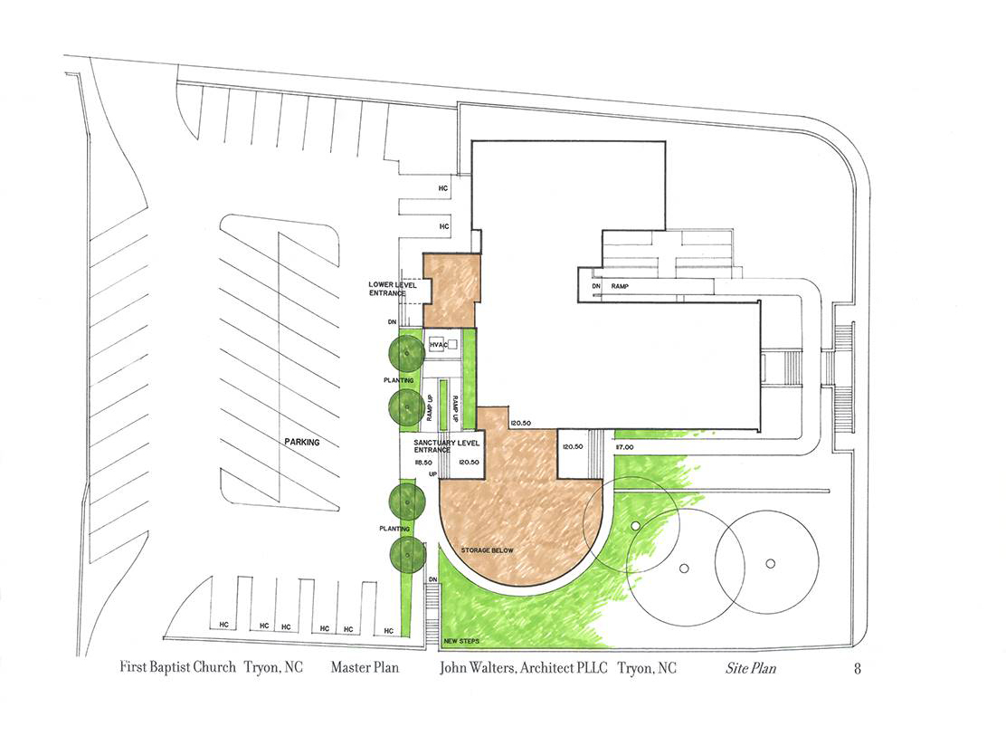 Site plan showing relationship of existing building and additions.