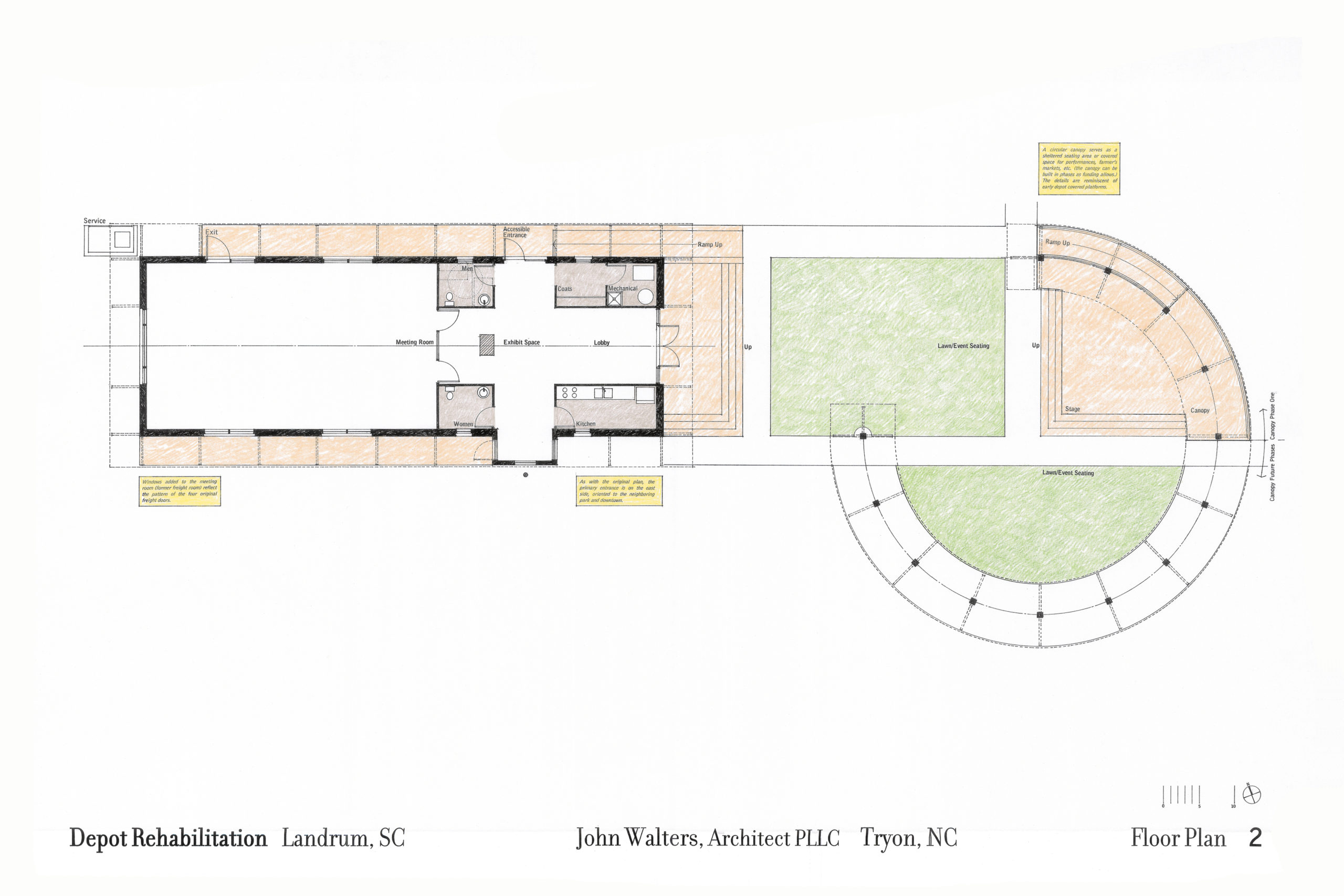Site plan showing depot and exterior covered shelter.