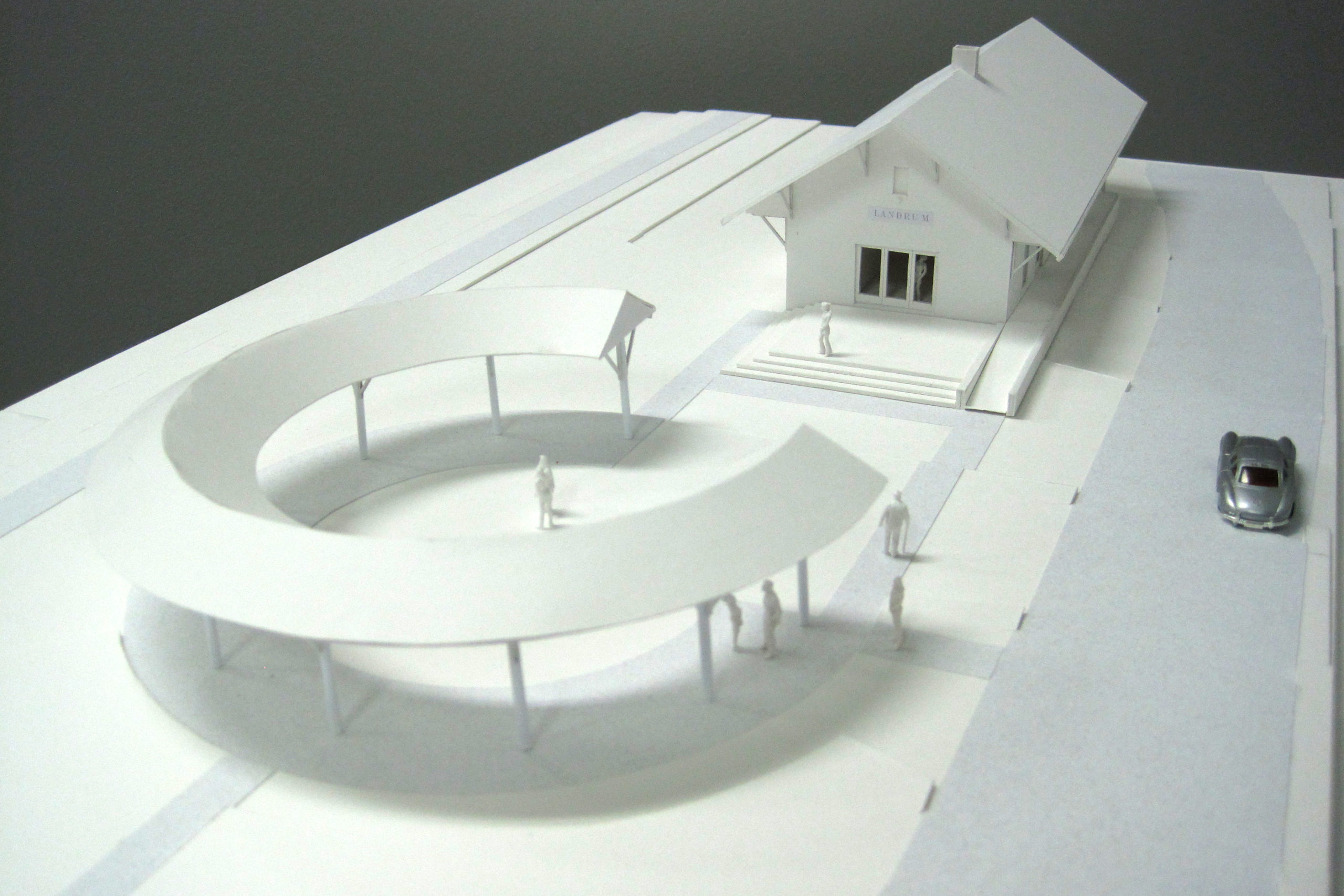 Model showing depot and exterior shelter.