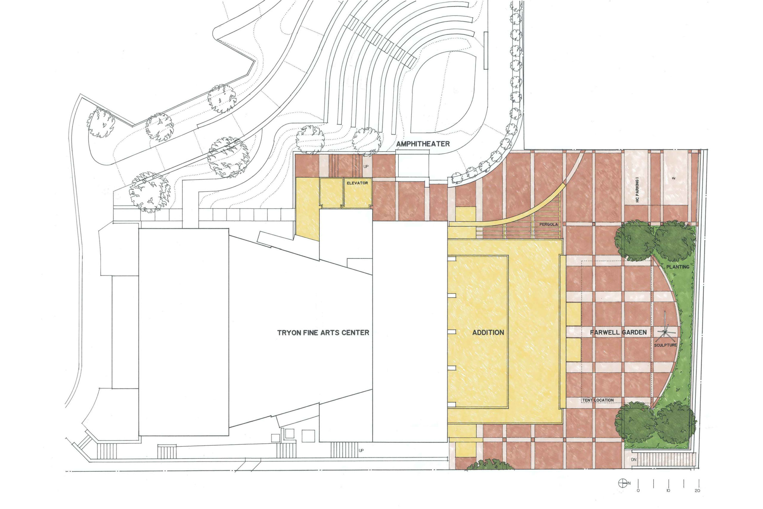 Site plan illustrating new building and courtyard.