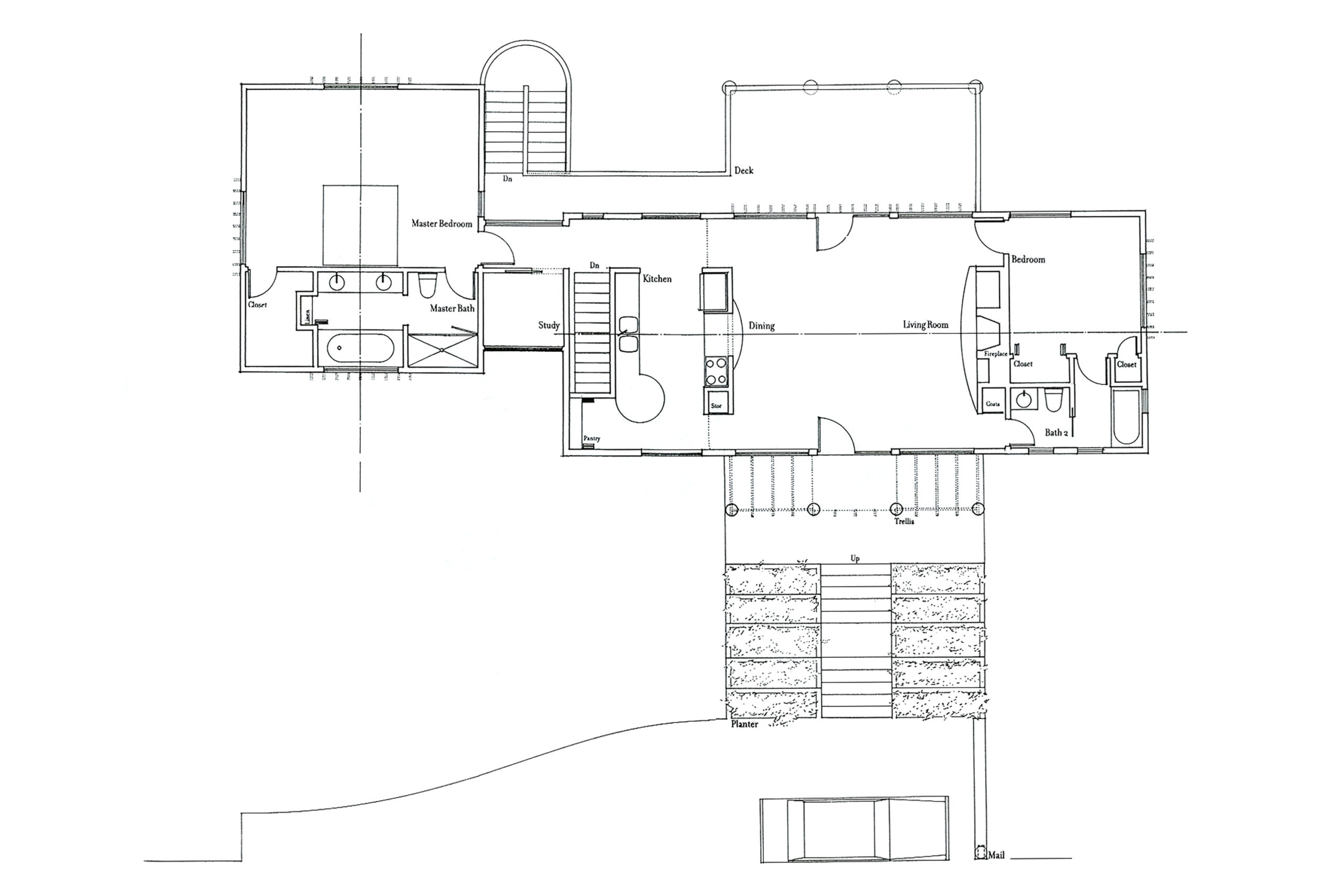An architectural floor plan of the main level of this residence showing the master bedroom, study, kitchen, dining area, living room, and a second bedroom.