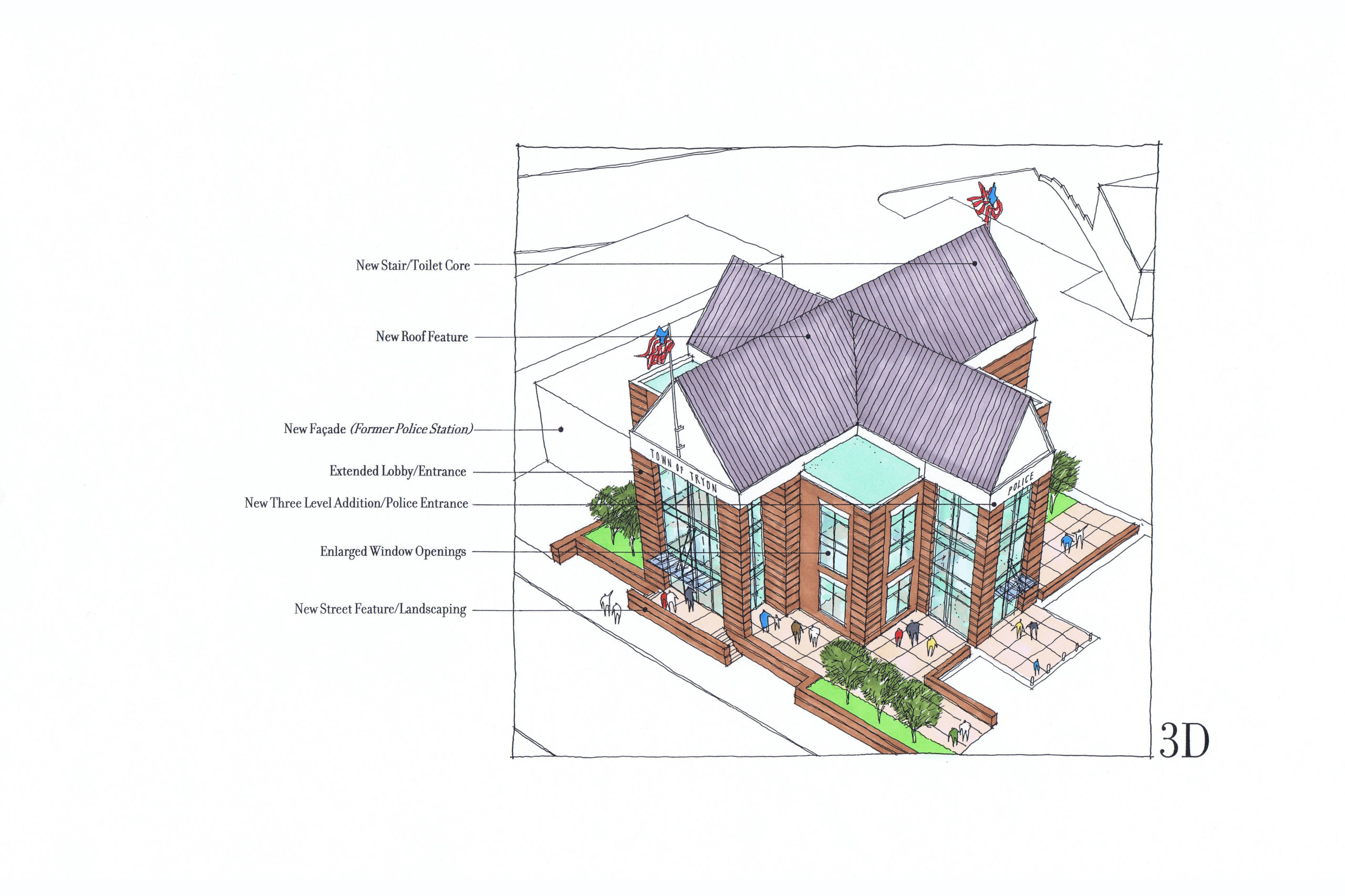 Rendering with four gable roof.