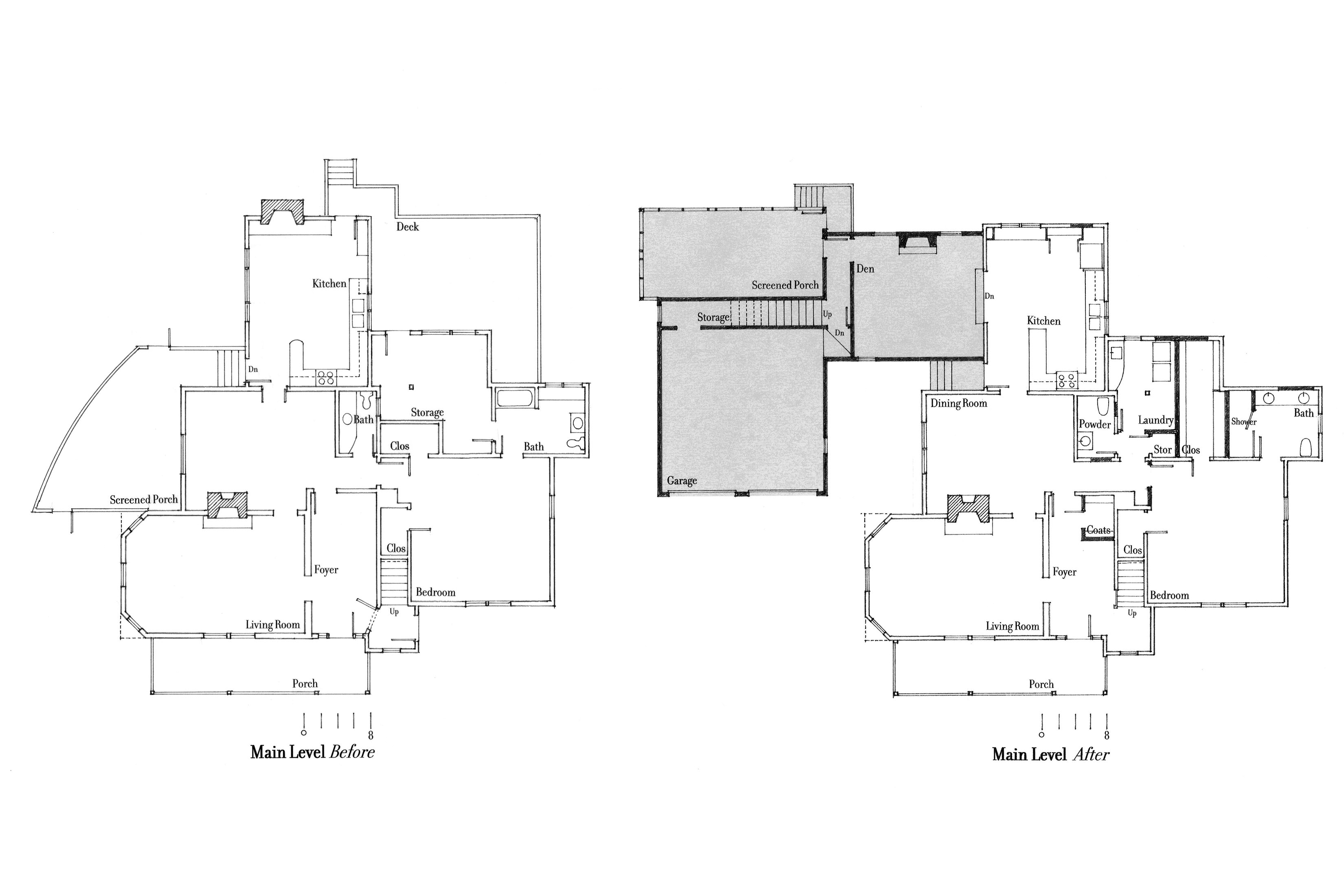 Floor plan showing the before and after layouts.