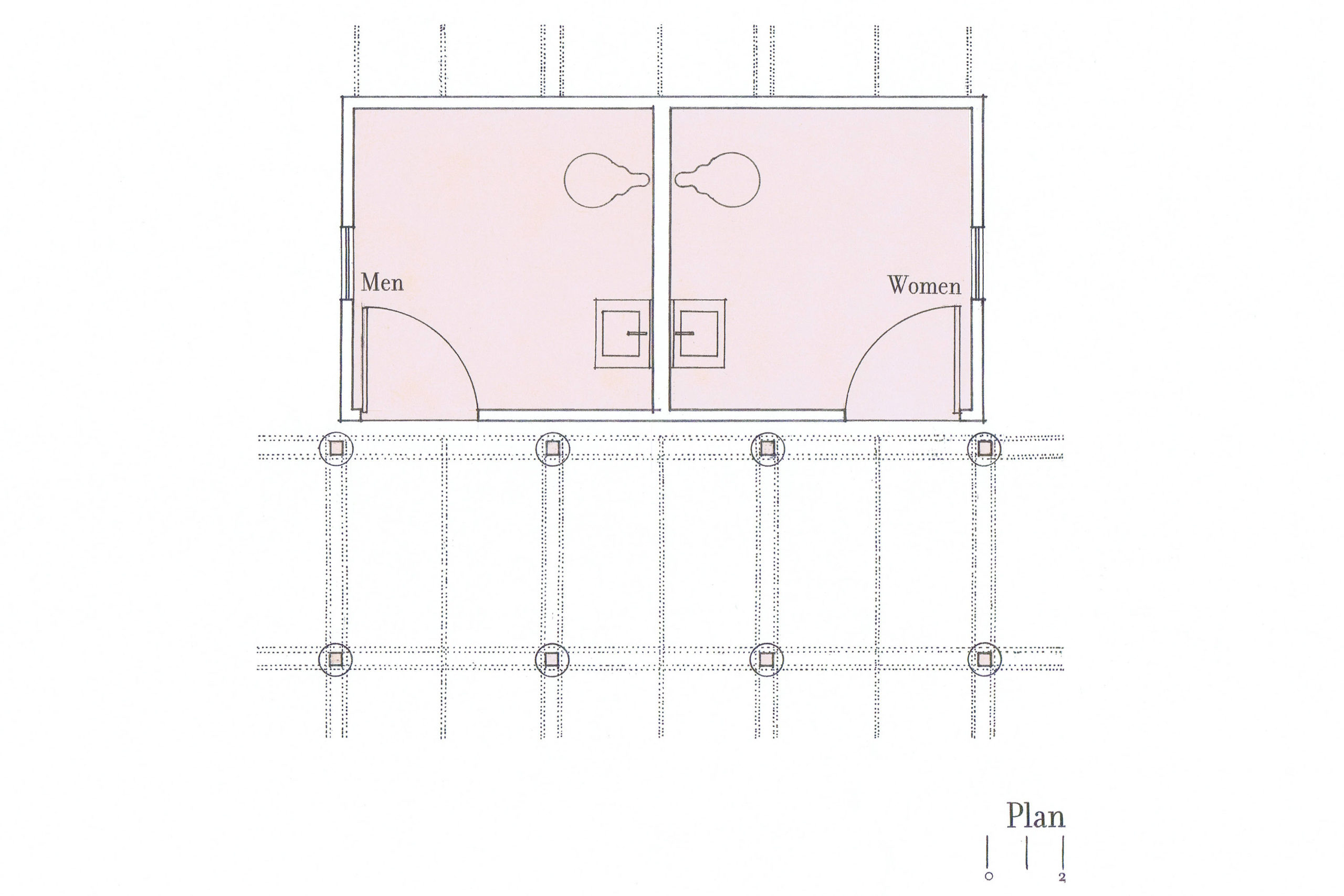 A floor plan of the Rogers Park Comfort Station showing two restrooms, each with a sink and toilet.